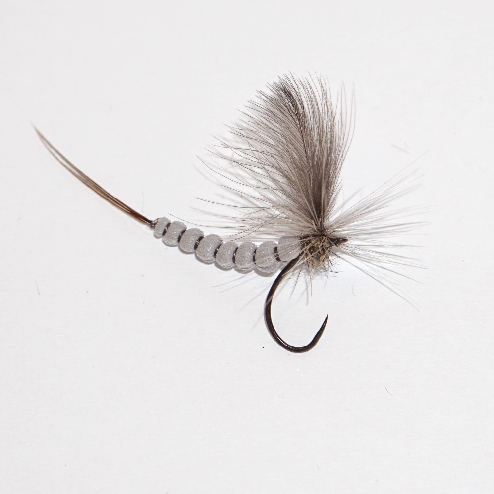 Jętka majowa jasno szara may fly extended body light gray dry fly na pstrągi