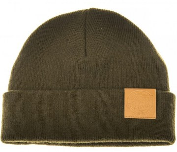 Ahrex Tight Knit Leather Patch Beanie loden oliwkowa czapka wędkarska